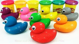 Learn Colors with Sparkling Play Doh Ducks and Clay Slime Surprise Toys