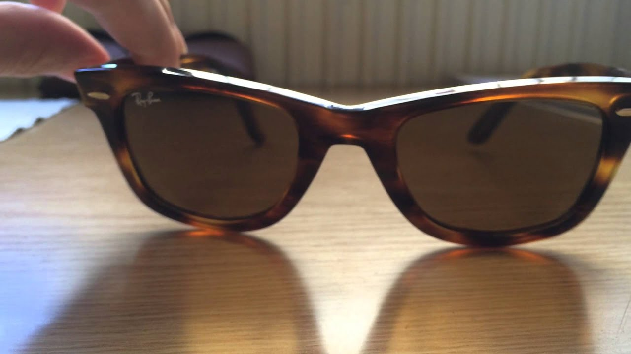 ray ban rb2140 954  Ray-Ban original wayfarer RB 2140 954 Light tortoise review - YouTube