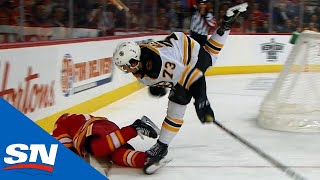 Charlie McAvoy Levels Johnny Gaudreau With Big Hit After The Play