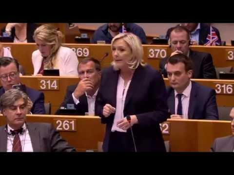 Marine Le Pen lors de séance plénière extraordinaire suite au Brexit