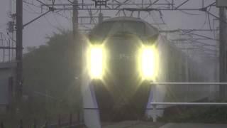 【Foggy station, fast passage, arc discharge E353, E257】特急スーパーあずさ & あずさ  271 みどり湖駅