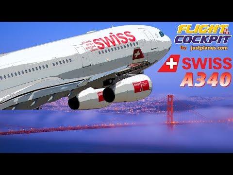 SWISS Flightdeck Airbus A340 to San Francisco