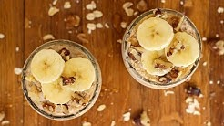 Breakfast Recipe: Easy Banana Honey Walnut Overnight Oats by CookingForBimbos.com