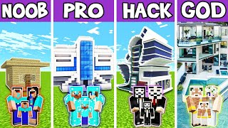 Minecraft: FAMILY BIG FUTURE HOUSE BUILD CHALLENGE - NOOB vs PRO vs HACKER vs GOD in Minecraft
