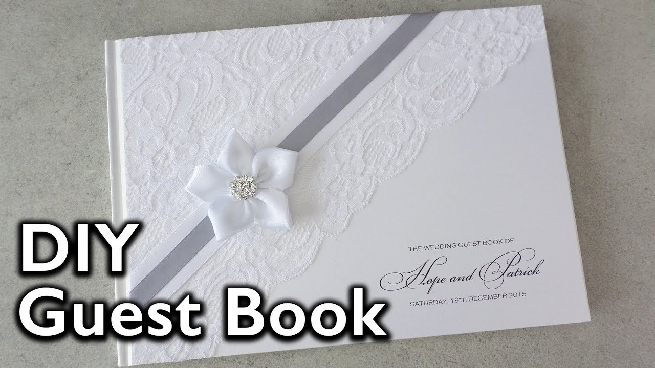 How to make an elegant lace and satin ribbon flower guest book diy how to make an elegant lace and satin ribbon flower guest book diy wedding invitations solutioingenieria Images