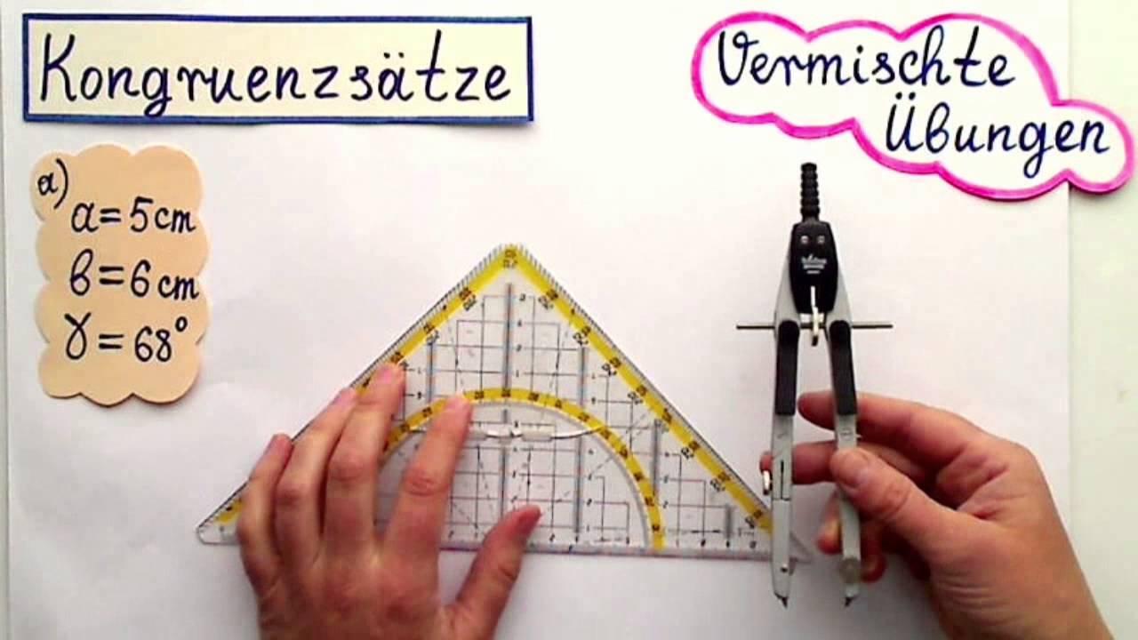 Kongruenzsätze Theorie und praktische Übungen Konstruktionen 2 - YouTube