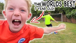 THE BEST 7yr OLD IN THE WORLD VS ME!! GARDEN FOOTBALL!!