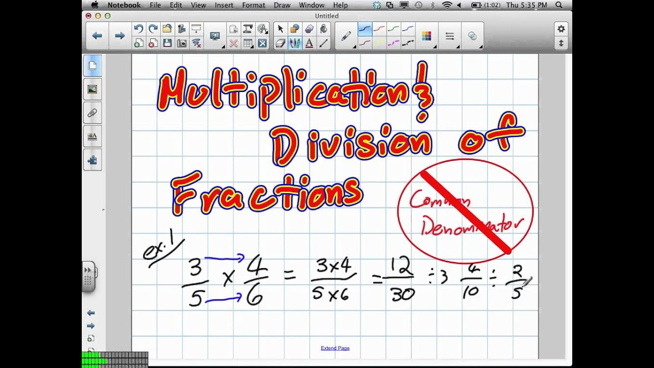 Multiplying and Dividing Fractions Grade 10 Applied Pre Req Skills 7:5:12 -  YouTube