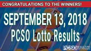 PCSO Lotto Results Today September 13, 2018 (6/49, 6/42, 6D, Swertres, STL & EZ2)