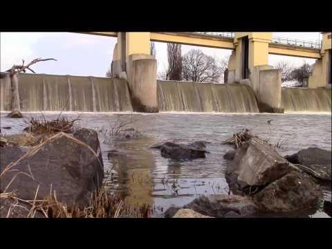 Overflowing river dam ASMR video