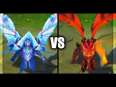 Hextech Swain vs Dragon Master Swain Skins Comparison (League of Legends)