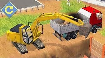 Tolles Baustellen-Kinderspiel mit Bagger und Kran 🌞 Kleine Bauarbeiter