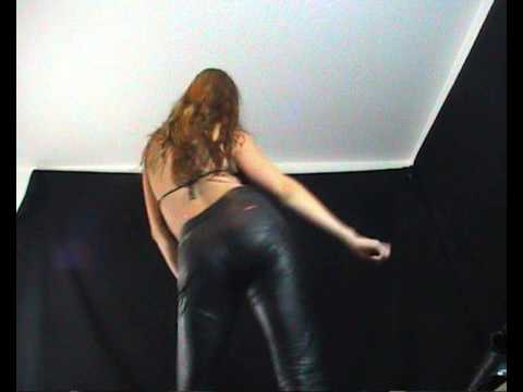 dancing hot girl in black shiny leggings