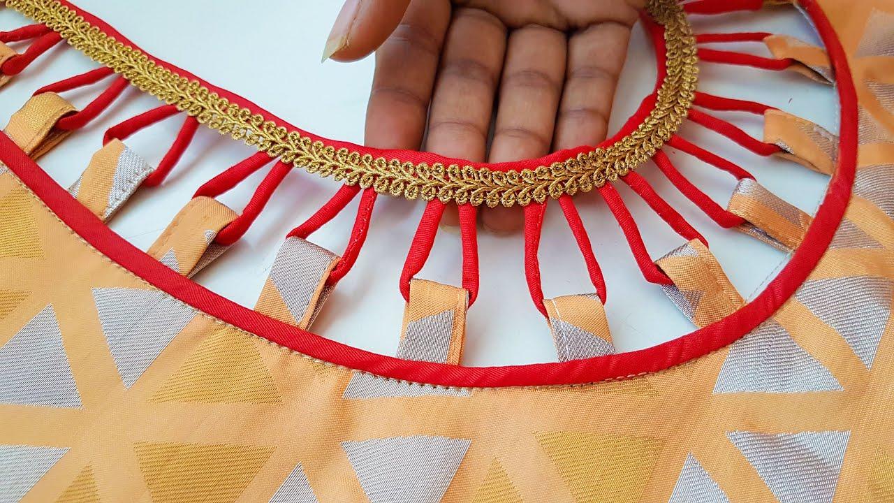 model blouse dori gala back neck design cutting and