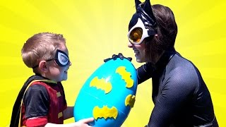 Batman Toys Play-doh Surprise Egg with Robin vs Catwoman Superhero Battle by KidCity