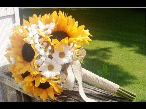 Sunflower And Burlap Wedding Bouquets - YouTube