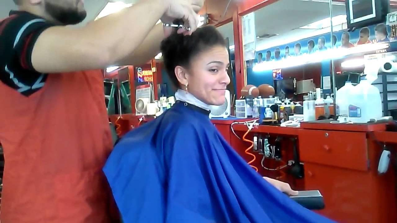 Haircut long to short on beautiful lady youtube - Barber vs hair salon ...