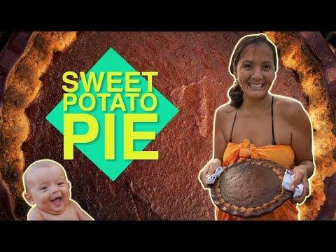 Sweet Potato Pie Hawaiian stylewith Macadamia nut shortbread cookie crust! Kimi Werner Recipe