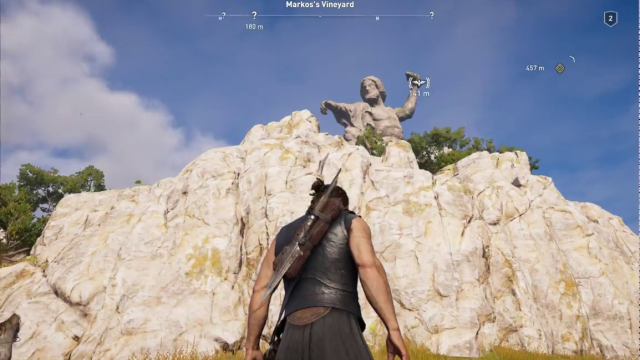 Assassins Creed Odyssey Climbing On To Zeus Statue On Kephallonia