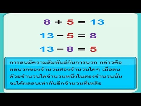 ความสัมพันธ์ของการบวกและการลบ คณิตศาสตร์ ป.1