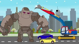 Superman Excavator VS Stone Giant | Toy Factory | Video For Kids - Koparka Superman