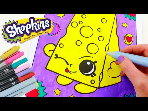 Shopkins chee zee speed coloring book page with markers