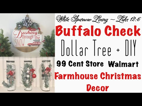 2 DIY DOLLAR TREE & 99 CENT STORE BUFFALO CHECK FARMHOUSE CHRISTMAS DECOR PROJECTS