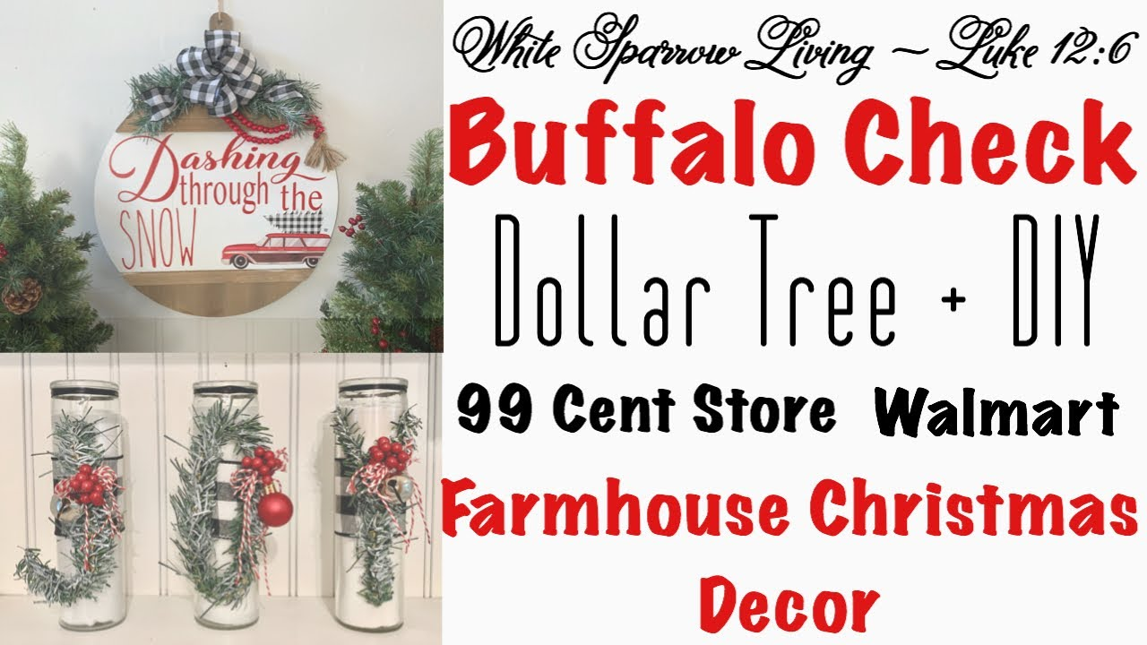 2 DIY DOLLAR TREE & 99 CENT STORE BUFFALO CHECK FARMHOUSE ...