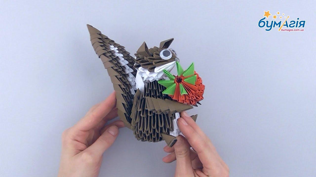 Белка Схема сборки модульного оригами белочка