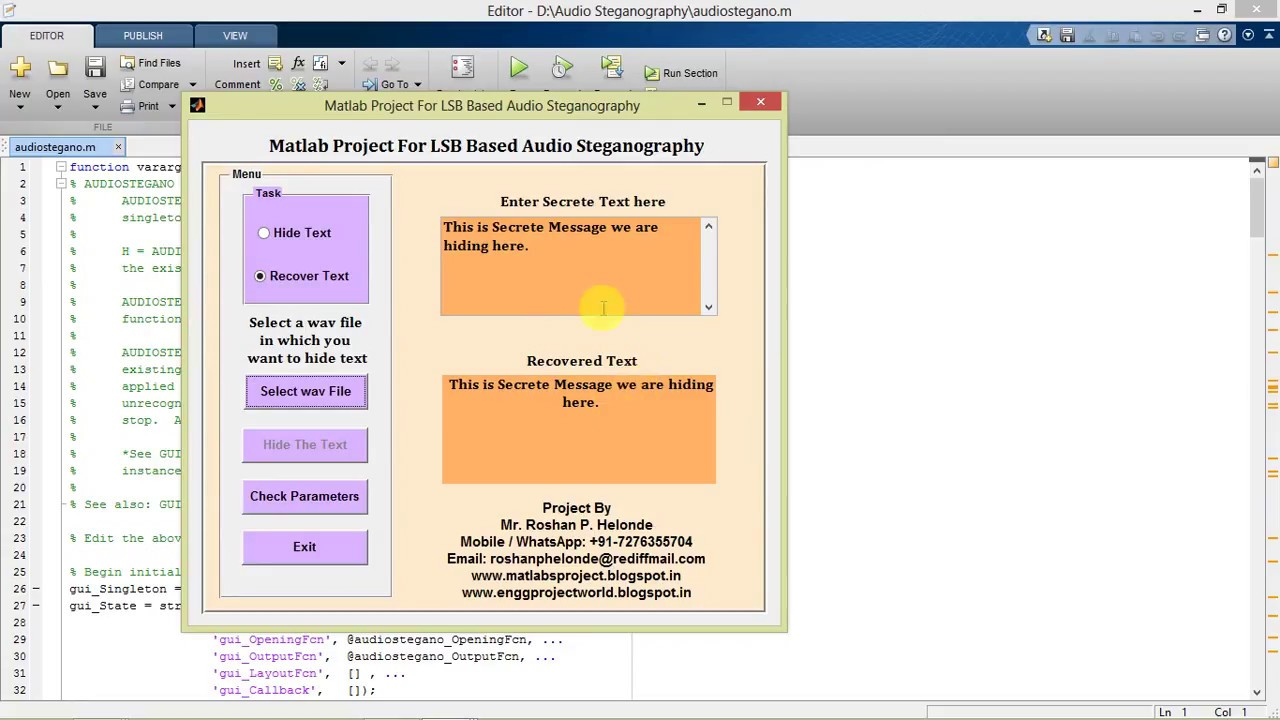 LSB based Audio Steganography for Enhancement in Security Matlab