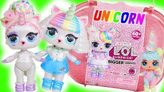 Unicorn Bigger Surprise and Fake Barbie LOL Dolls Opened - #Hairgoals Series 5 Blind Bags
