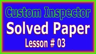 Custom Inspector Solved Paper (FPSC NTS OTS CSS) Lesson # 03