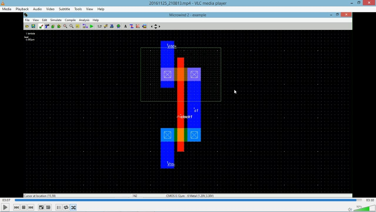 cmos inverter layout design using microwind - YouTube