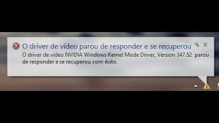 Driver da Nvidia kernel mode parou de Funcionar como resolver