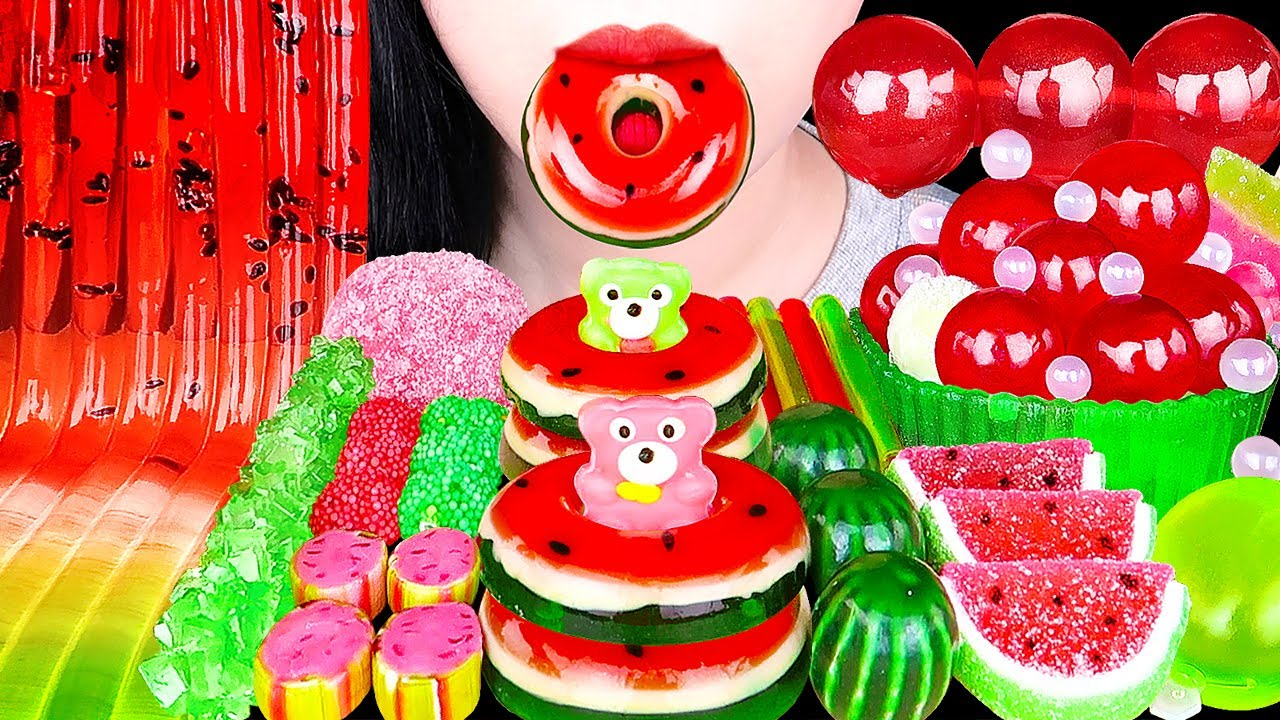 ASMR WATERMELON DESSERTS *JELLY NOODLES, DONUT, TIKTOK JELLY 젤리국수, 수박 도넛, 틱톡 젤리, 팝핑보바 EATING SOUNDS