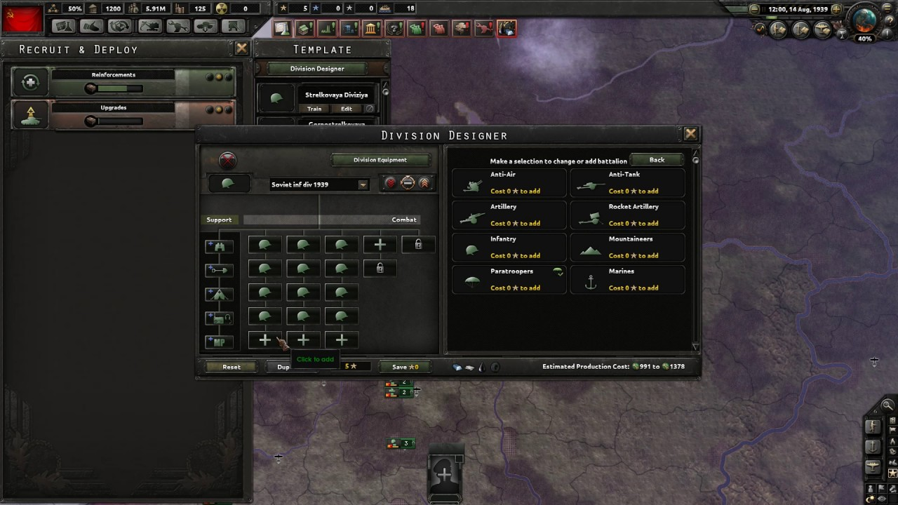 Hearts of Iron 4 - Soviet Infantry Division Historical Template
