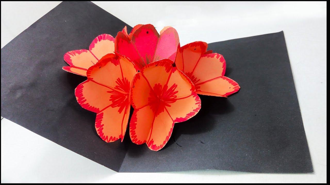 Diy 3d Flower Pop Up Card Tutorial Making A 3d Flower Pop Up Card Easy And Simple Steps 3d Paper
