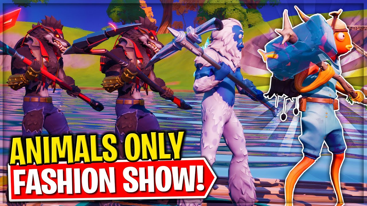 *ONLY ANIMALS* Fortnite Fashion Show! Skin Competition! | BEST DRIP, COMBO & EMOTES WINS!