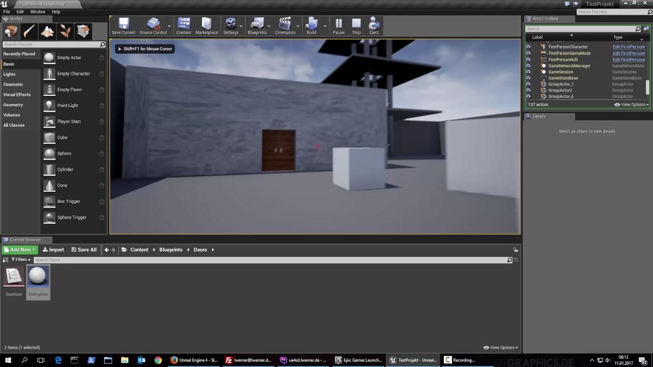 Unreal Engine 4 - Sliding Door Blueprint - Promotion Video
