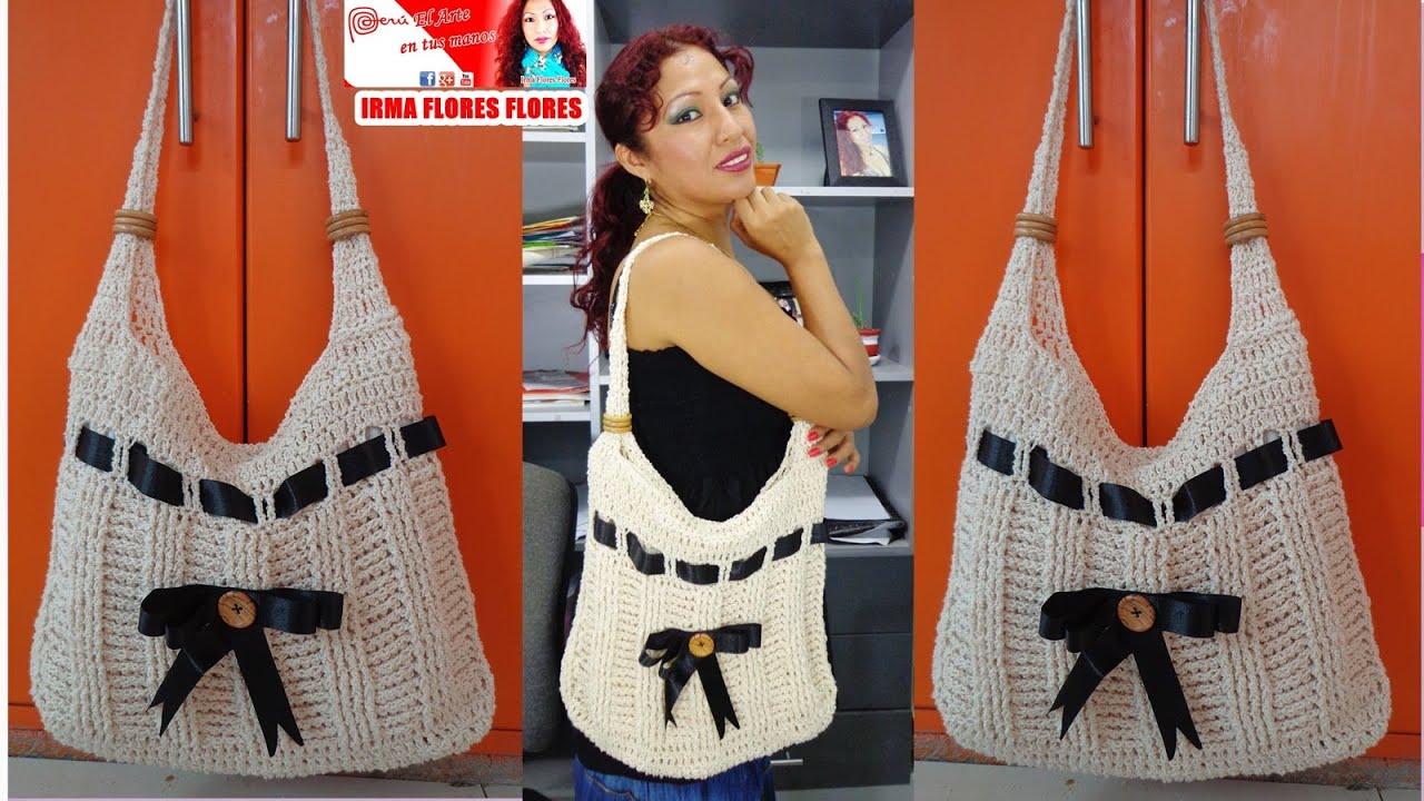 Bolso grande color entero y decorado con cinta tejido a - Bolsos tejidos a crochet ...