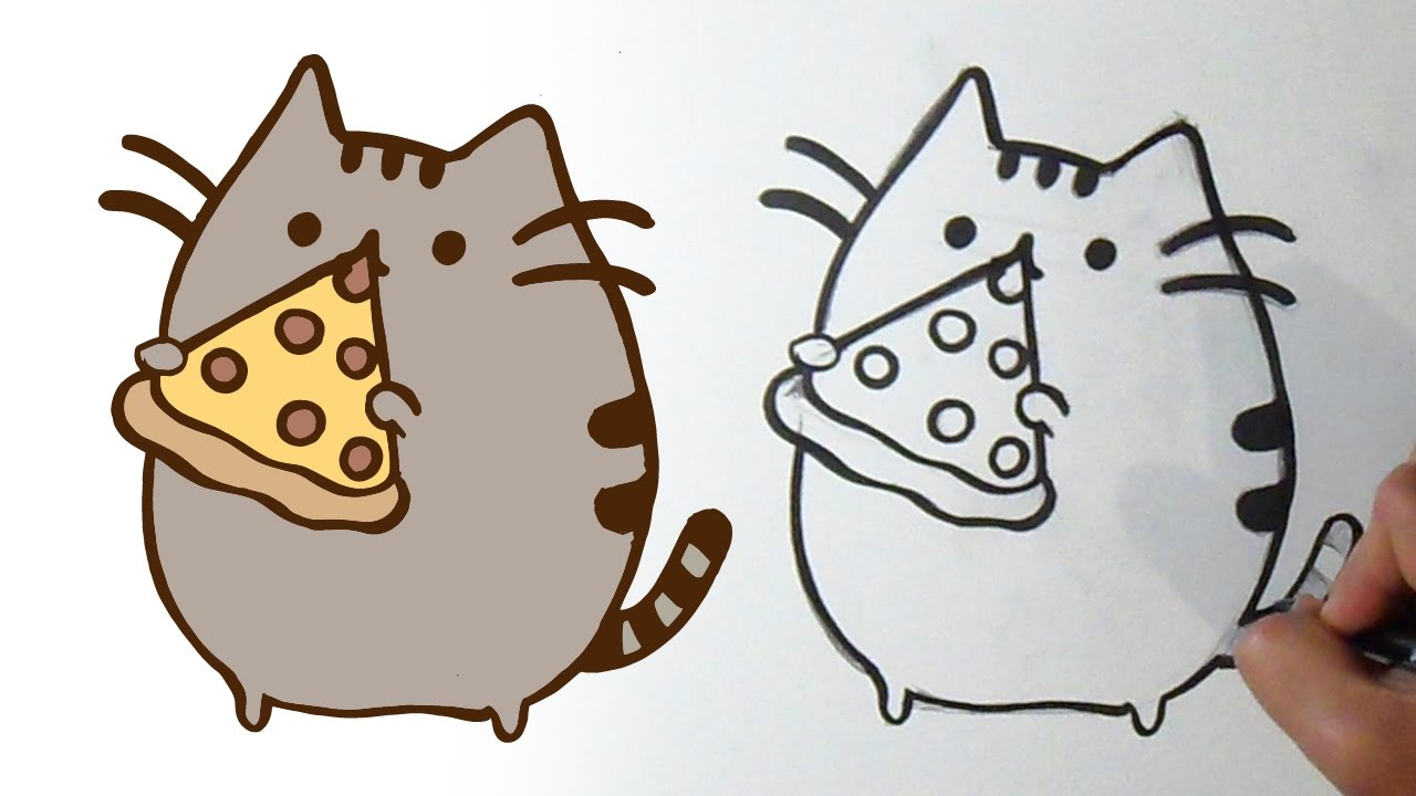 How I Draw Pusheen The Cat Pizza Kawaii