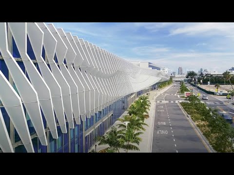 Miami Beach Convention Center for Harmon. Aerial Videography.