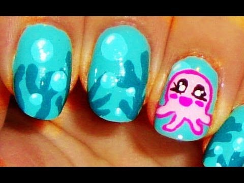 Cute octopus nail art youtube cute octopus nail art prinsesfo Image collections