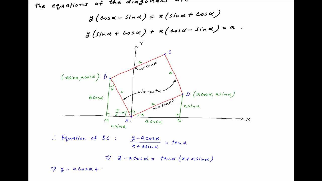 Find Equations Of Diagonals Of Square With A Side At Angle A To X Axis And