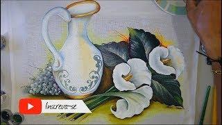Aprenda a Pintar Copos de Leite e Folhas
