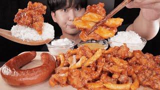 SUB)킬바사 소세지랑 처갓집슈프림양념치킨 치밥먹방!!…