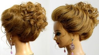 Hairstyle for long medium hair. Bridal prom  updo.