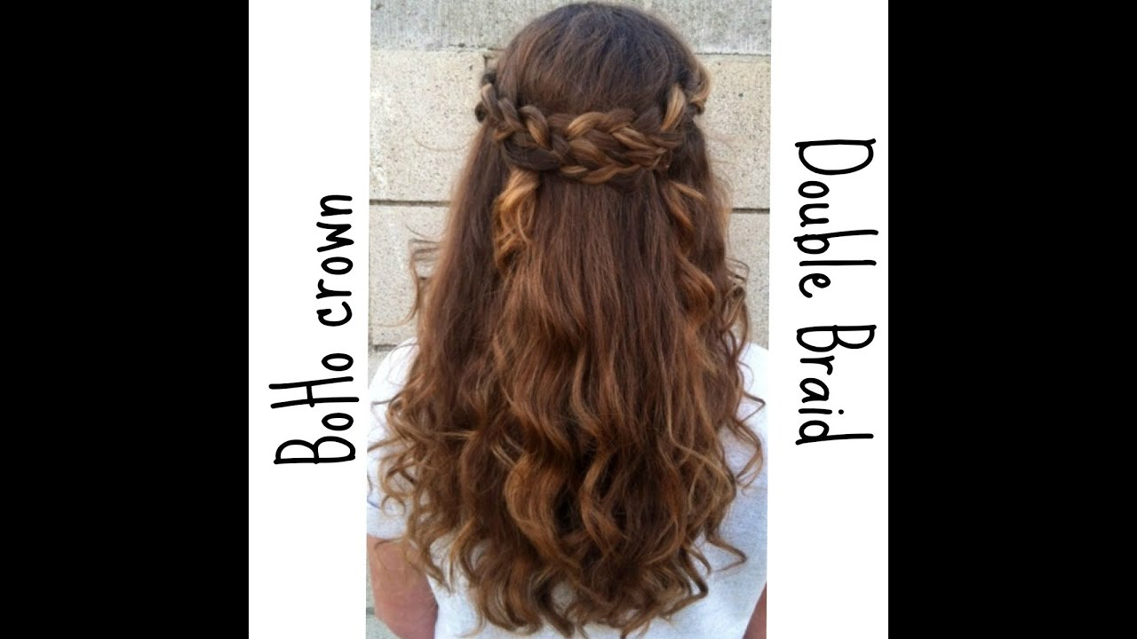 braided half up half down hairstyle - youtube