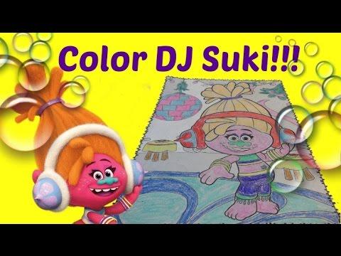 dj suki colors dj suki trolls jumbo coloring book