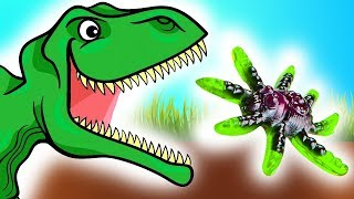 Мультики для детей! Что не поделили динозавры и пауки? Мультфильмы для детей про динозавров